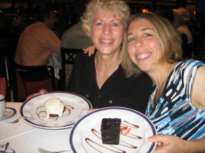 The blogger and her mother enjoy dessert on the ms Eurodam