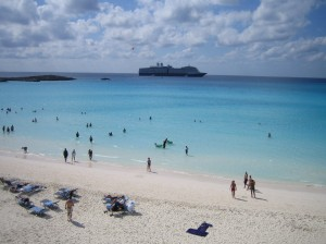 Aquamarine waters and a picture-perfect white sandy beach at Half Moon Cay