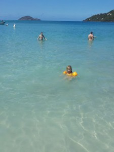 Cobi with Floaties at Megans Bay