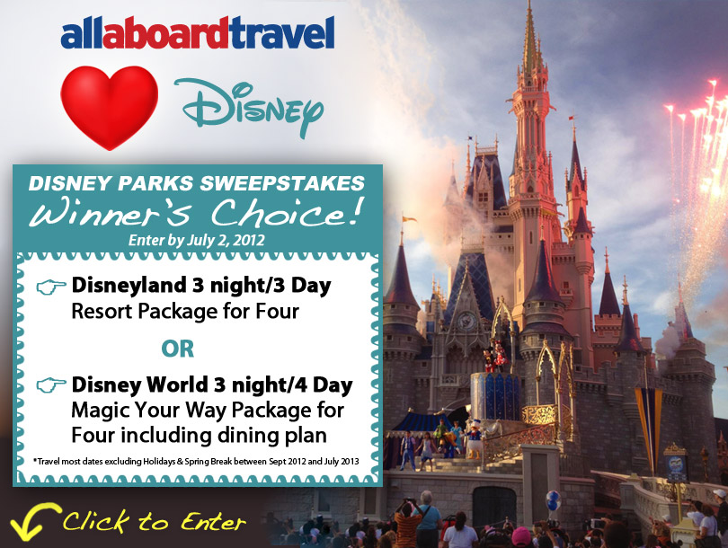 Win a Disney Park Package for 4 – All Aboard Travel Loves Disney Sweepstakes