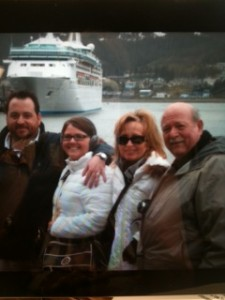 Made it!  The Socolofsky family in Juneau, thanks to Royal Caribbean!