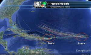 Tropical Storm Isaac and Tropical Storm Joyce Images