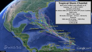 TS Chantal Projected Paths by @wxBrad