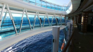 The SeaWalk over looking the ocean on the Royal Princess.