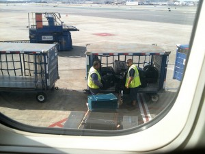 Luggage loaded on to plane