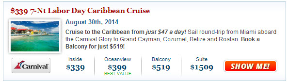 Best Carnival Labor Day Cruise Deal
