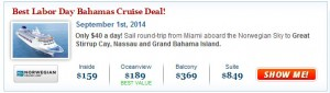 Norwegian Sky Labor Day Cruise Deal