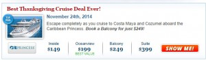 The Best Thanksgiving Cruise Deal ever