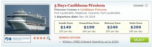 $149 Princess thanksgiving cruise deal