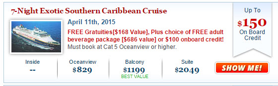 2015 Celebrity Summit Cruise Deal