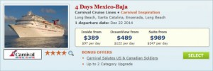 2014 Carnival Christmas Cruise Deal