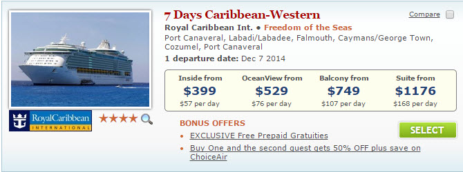 $399 Freedom of the Seas Deal