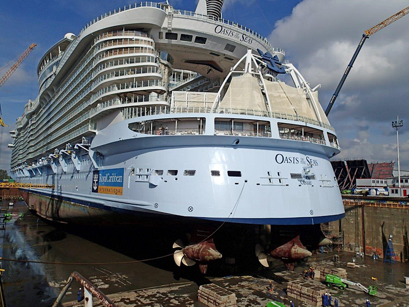Oasis of the Seas out of Dry Dock