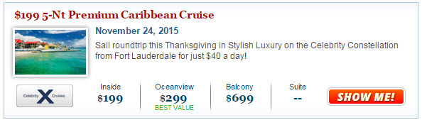 2014 Celebrity Thanksgiving Cruise Deal
