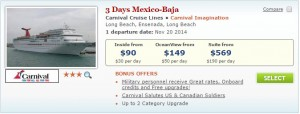 $90 Carnival Cruise in Pack & Go Sale