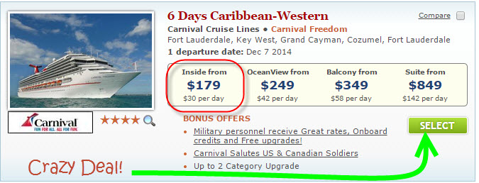 $179 Carnival Freedom Deal