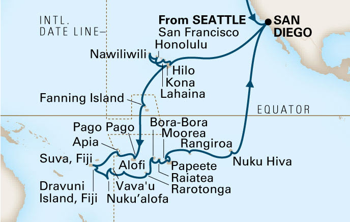 Holland America 50-day South Pacific Itinerary