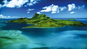 Bora Bora island photo from the air